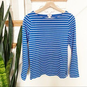 J.Crew long sleeves blue and cream striped shirt